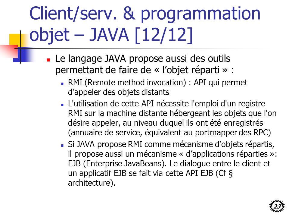 Client/serv. & programmation objet – JAVA [12/12]